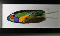 """FOR SALE, Beautiful Bird Art all custom hand painted on feathers, with frames ready to be displayed in your home, you can special order any bird you like, price very on birds. most measure 14"""" to 17"""" long & 7 1/2"""" to 8 1/2"""" wide. ALSO HAVE A GOLD FINCH ,"""