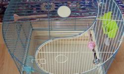 USED 1 WEEK WILL HOLD 2 PARAKEETS OR SMALL PARROT 12X22X16W-$40 COMES WITH FOOD CUPS/PERCH/TOYS 3 YEARS OLD USE ONLY FOR NEW ARRIVALS WILL HOLD 2-4 PARAKEETS/ COCKTOO/ MED SIZE PARROT $55 COMES WITH PERCH/TOYS/FOOD CUPS MAPLE STAND ON CASTERS FOR BIGGER