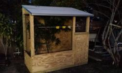 This is a 5 panel including the roof birdcage movable you can take it anywhere 5 panels all treated wood 8 feet toll in the back 7 feet toll in the front 8 feet wide 4 feet deep for more info call me