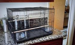 We have Brand NEW Cages for sale. Dimensions of cage: 24 x 16 x 16 Each cage comes with 2 new perches & 2 new cups Color available: Black Price $20 each Also carry Manzanita Perches Size: 10in various thickness Price $5 each We have a few cages left