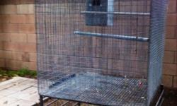 Galvanized wire bird breeder cage/flight double wired for safety comes with stand and metal nest box big enough for African Greys dimensions are 3' L x 3' W x 3' H asking $100 FIRM No delivery must pick up Cell:(626)428-6467 Kayonna Calls or texts