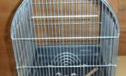 Clean bird cages--wire with plastic bottoms and trays, pictured, $10 each. #1.3 Finch type/transport cage: 13?x10½?x16?T, 3/8? bar spacing, purple wire and bottom with white pull-out tray, 3 doors on front. $10