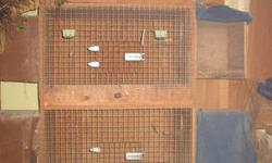 We have eight of these individual cages. They are each 30x19x18. They have detactable 11x11x12 nest boxes on the side. These nest boxes have plexiglass fronts that we cover with dark cloth. The cages stack nicely and are in good condition.