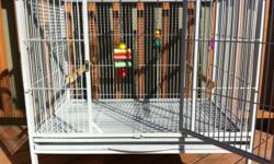 Great condition. Absolutely no rust and already cleaned, for you. Comes with two toys, two perches and two bowls. This cage is, unlike many others, wider than it is tall. For those of you that own birds, you know that they tend to stay at the top of the