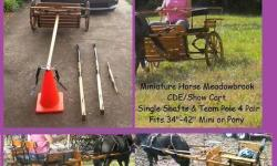 ...Mini/Pony Horse Meadowbrook Cart (Single & Team Pole Set up for a Pair) Rear entry/seat lifts up....Has spares box under right seat and wooden whip holder. .Both seats fold down and the left one lifts up for getting in the back... excellent condition