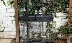 I am moving and selling all my extra bird stuff including these cages, a huge box of manzanita perches, a manzanita tree, different sized nest boxes etc. Black Cage is $50 Wire cage is $35