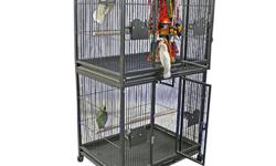 New Double Stack Cage. Great for breeding parrots such as african greys, eclectus, conures, indian ringnecks. I have several that I bought and never used. All still in boxes, but could build for you. Strong cages and will last for years. I also have