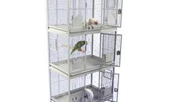 """New triple stacked cages. Good for housing small-medium sized birds. Could also be used for breeding birds. All new in boxes. Have different color ones as well.. Dimensions- 36""""x24""""x76"""""""