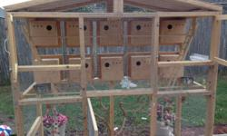 Big birds cage. perfect for breeding parakeets or lovebirds. with 10 nest and a lot of room and 2 manzanita trees that will make your birds feel like they are in natural habitat. Take advantage of this special price ($250.00) and have fun watching how