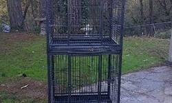 "STEAL OF A DEAL!!!! DOUBLE STACK PARROT CAGE - $260.00 Firm Intended for African Greys, Amazons, Eclectus, Small Cockatoos, etc... In EXCELLENT Condition. * Silver & Black Vein * 1"" Bar Spacing * Caster Wheels * Bottom Grates & Trays * 2 -Outdoor Feeding"