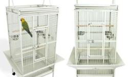 I have three bird cages for sale. One is brand new white with seed skirt and play top and ideal for large conure or small Amazon parrot. $125.00 One is used good condition green very large heavy duty for larger parrot such as African grey or cockatoo.