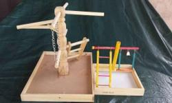 I have 2 peen plax Wooden Playground Bird Activity Center i used them very light, size medium & XL large Includes copper bell, 6-step ladder, 100% cotton rope with acrylic toy, cosmic links climbing toy and play swing Bird activity center Large wooden