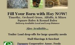 PREMIUM QUALITY HORSE HAY, STRAW & SUPPLIES (STANDARD SQUARE BALES AND 4X5 ROUND BALES NET WRAPPED) ORCHARD GRASS - 1st and 2nd cutting (2nd cutting is a soft & fluffy texture with nice green color) ALFALFA - 2nd and 3rd cutting TIMOTHY - 1st cutting HAY