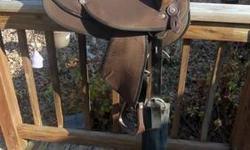 """Western Saddle with @3"""" back Like New Great Shape $200.00 call 804 335-9845. Western Saddle Leather Great Shape $200.00 Call 804 335-9845"""
