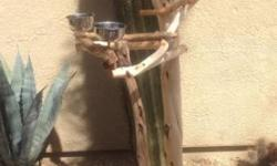 """Like new Manzanita perch Tree - Sand Blasted - light rich colored wood after the sand blasted looks so Goood !! Approx 5-5.5 ' tall with two Stainless steel perch cups... Base is 30"""" x 22"""" and on new HD Gold hooded casters !! Rolls so easily ... Like a"""