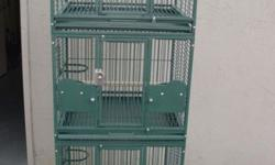 """These are A&E Cage Co beautiful green powder coated triple stack cages. Can be used for breeding, or just as a home for multiple birds. These are high quality cages and they are brand new. They are 24"""" wide, 22 inches deep & 70"""" tall. They are on high"""