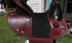 """For sale...Sold horse. Western saddle circle Y 15"""". Dark Brown / black. Very comfortable. Good condition. Semi quarter horse bars. Fit my round quarter horse well. $ 500.00 Aussie all leather saddle. 15 1/2 - 16"""" seat. Keeps you in the saddle on the"""