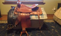 15 inch seat. Bridle is new, never used. Saddle does have fiberglass tree. Good condition. Rialto is the brand. Located in Vine Grove, KY. Cell number is 404-783-1492.